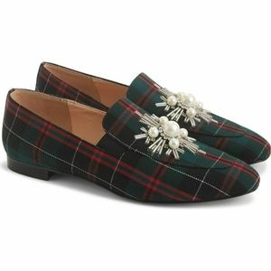 NWB J Crew Embellished Tartan Plaid Janie Loafers